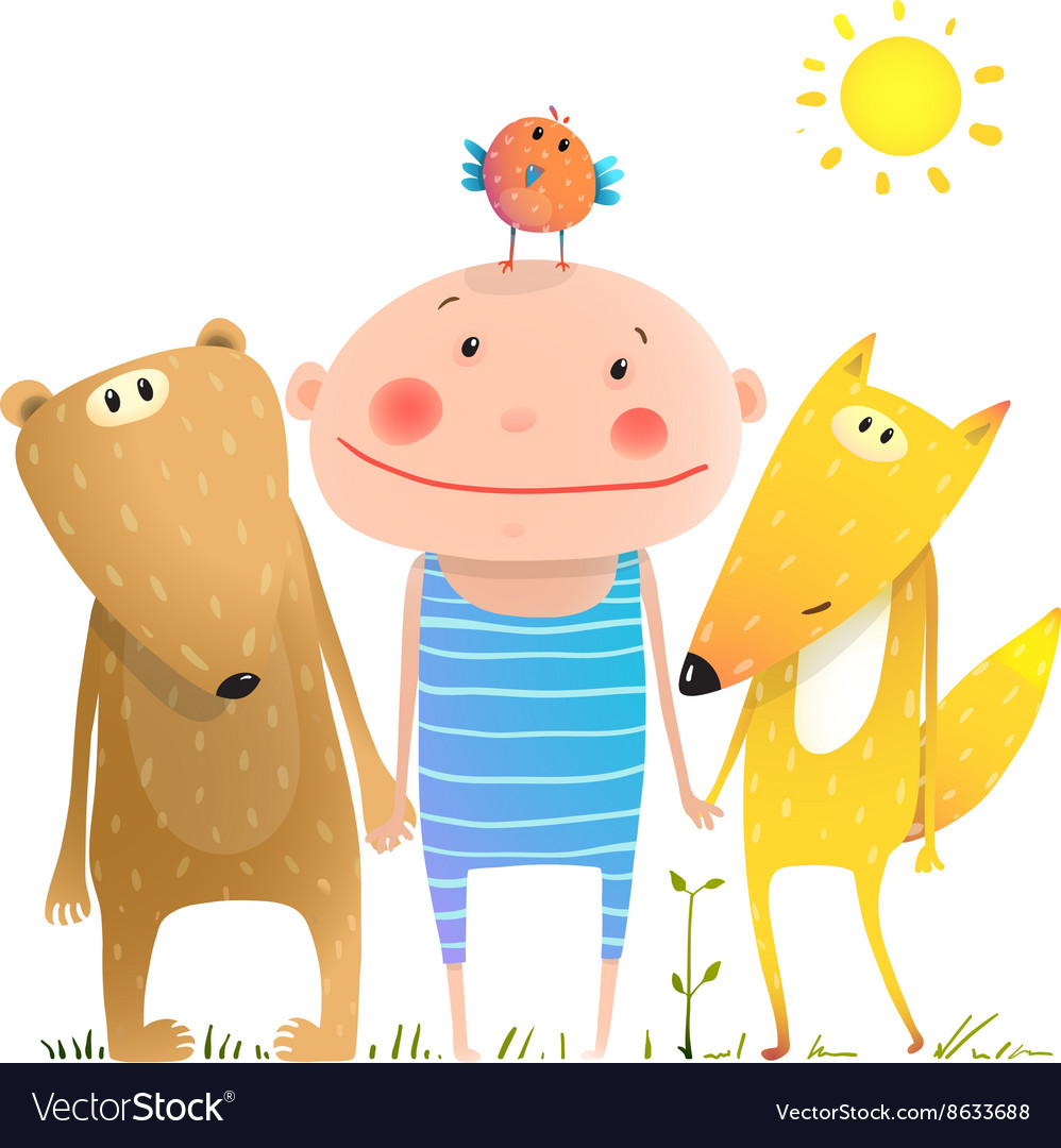 Animals and child friends fox bear bird kid vector