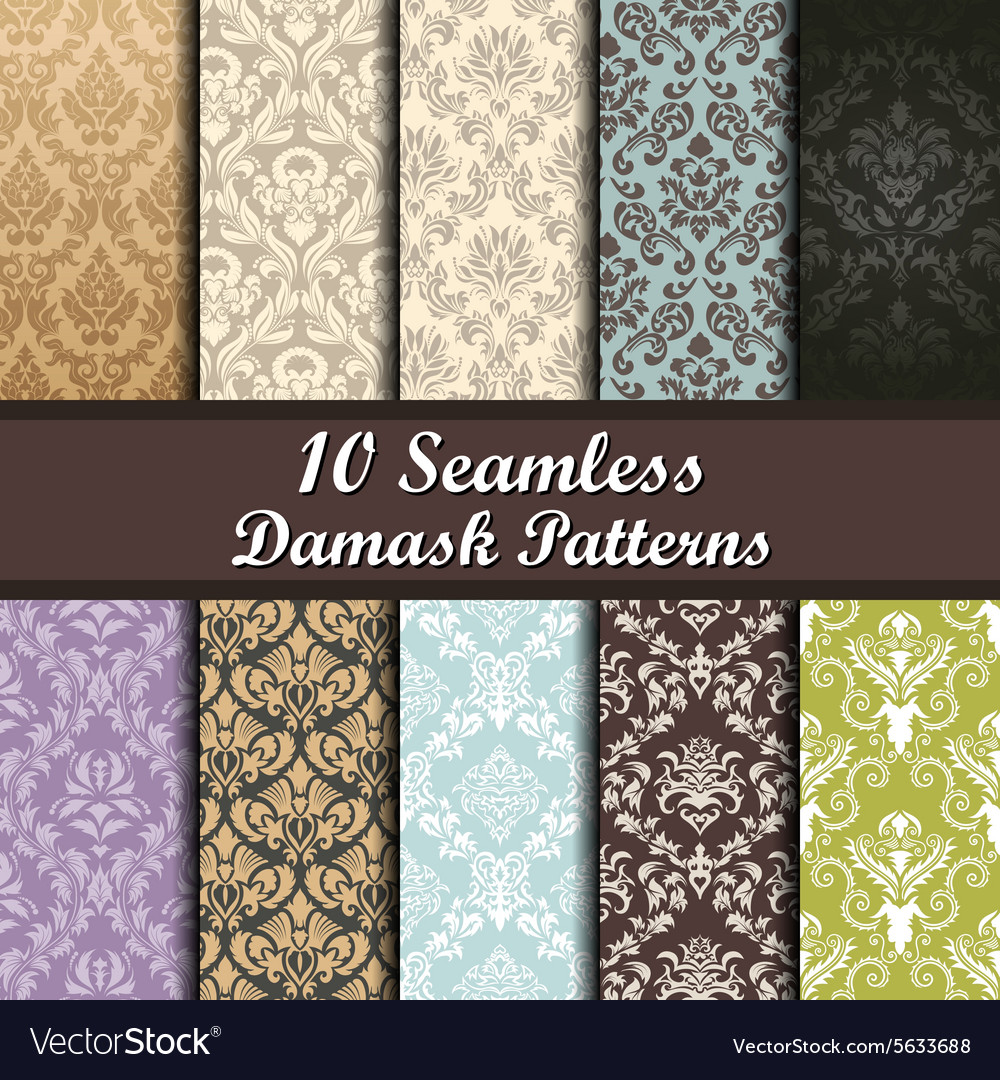 Damask patterns set vector