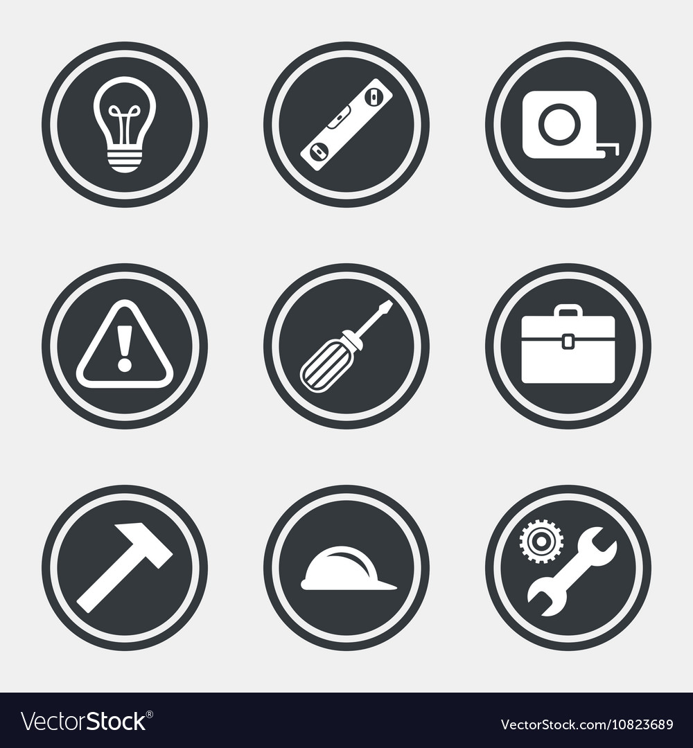 Repair construction icons engineering signs vector