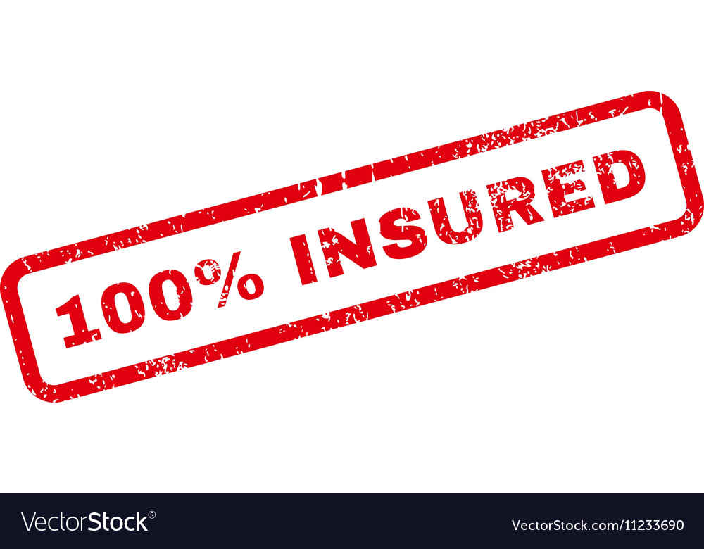 100 percent insured text rubber stamp vector