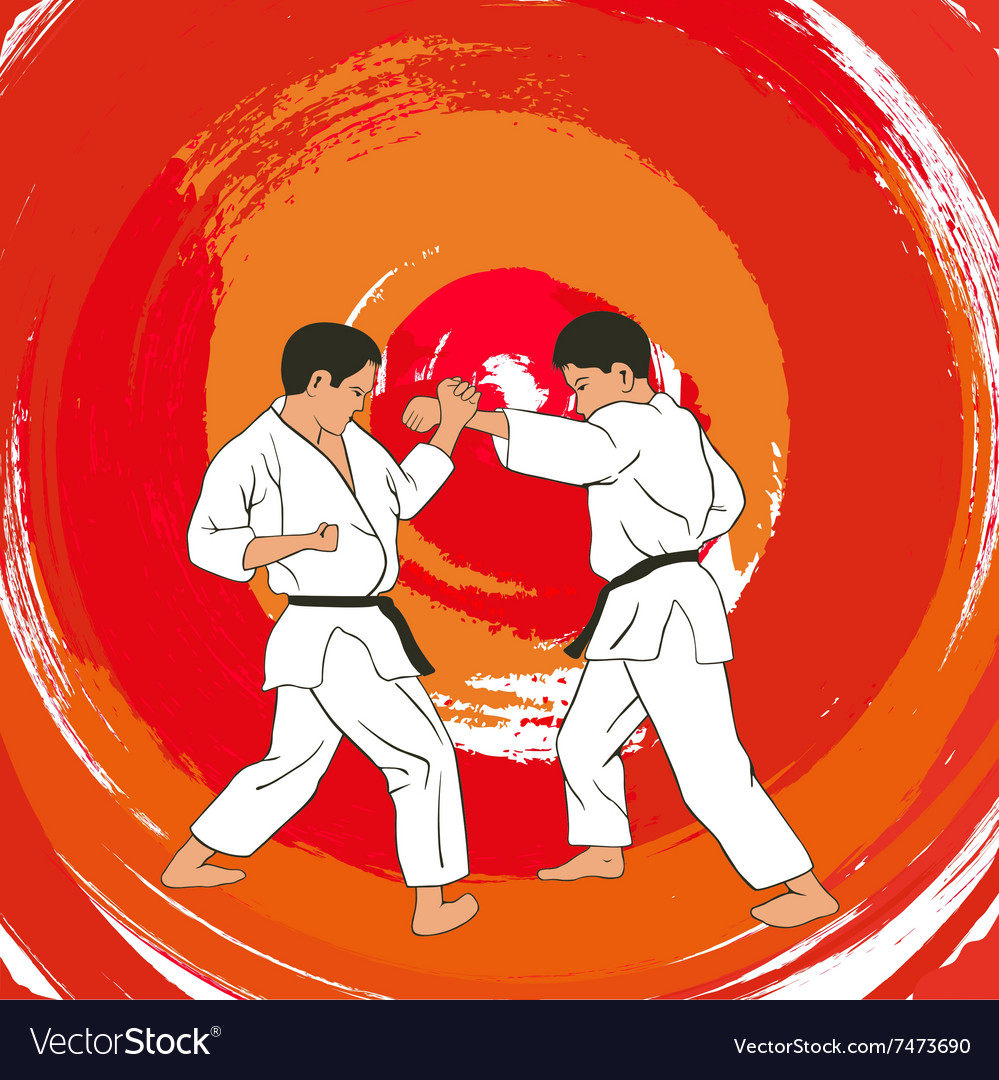 Two boys demonstrate karate vector