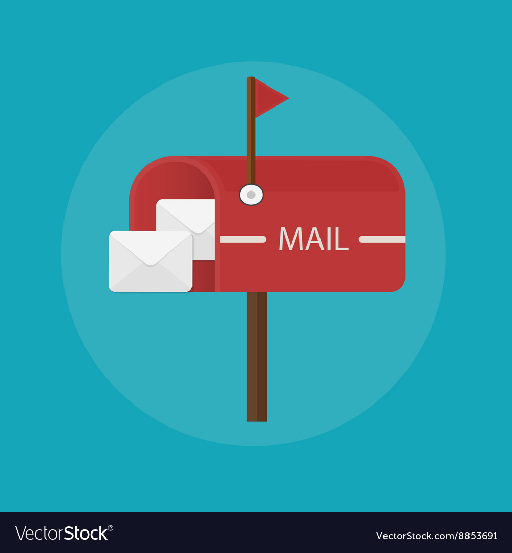 Mail box post icon flat design vector
