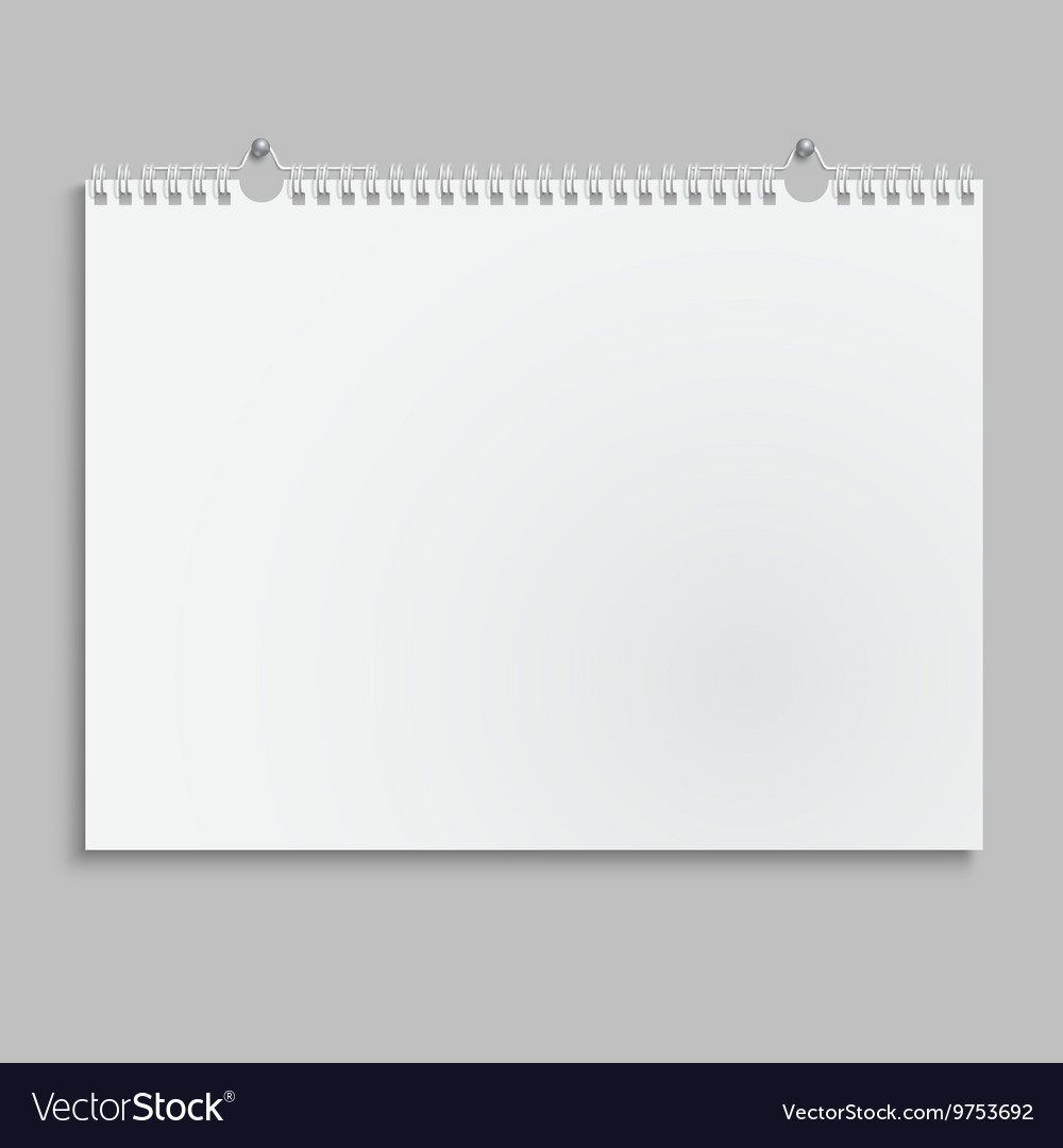 Blank wall calendar with spring vector