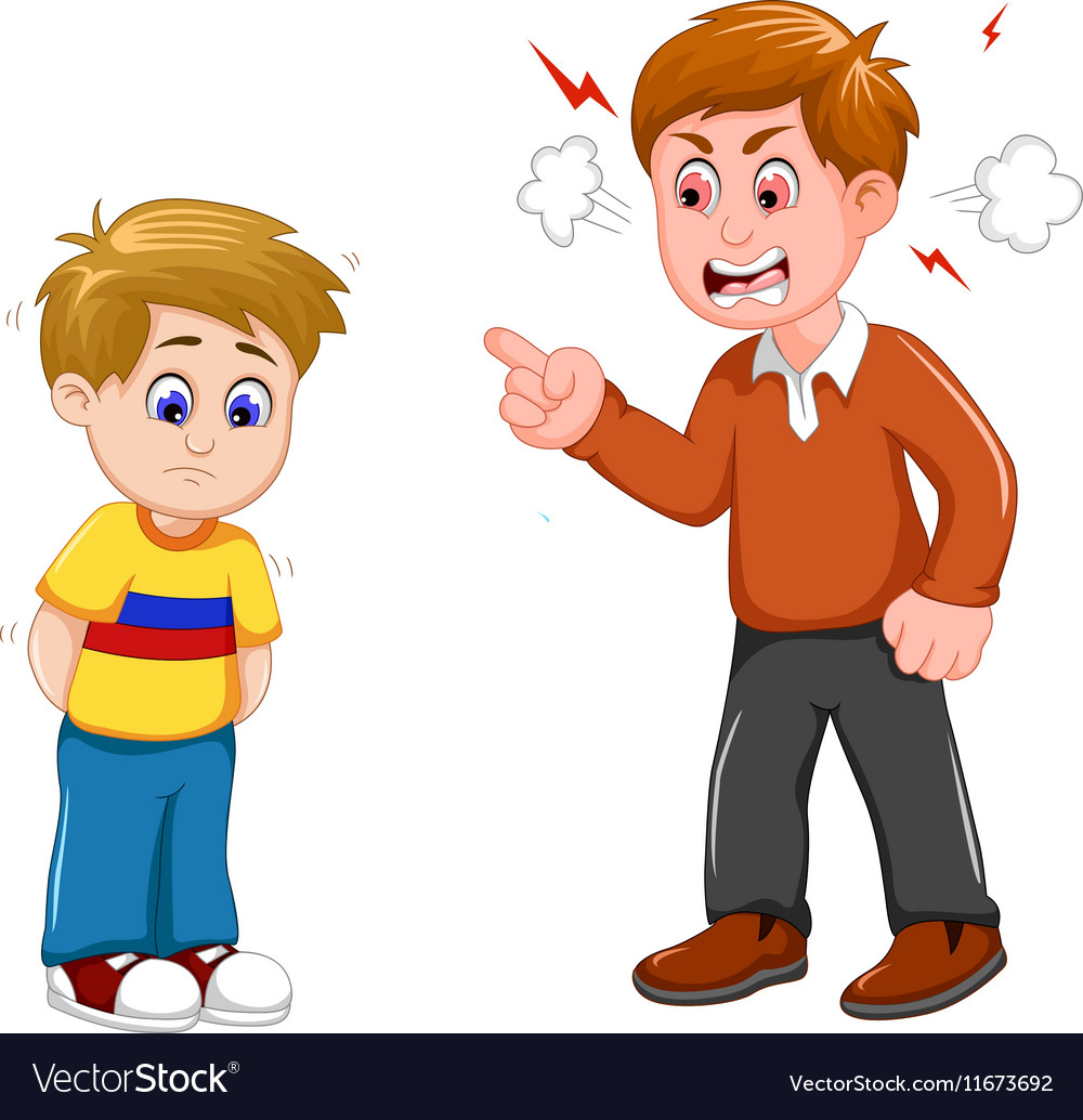 Cartoon father scolding his son vector