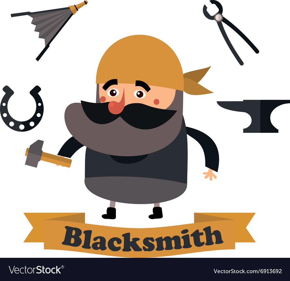 Flat icons blacksmith vector