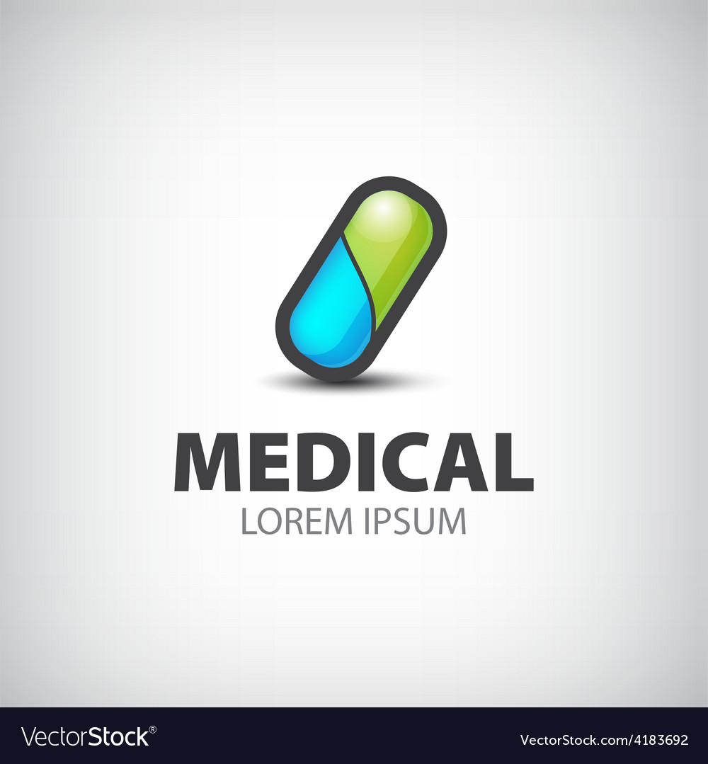 Medical pill icon logo isolated vector