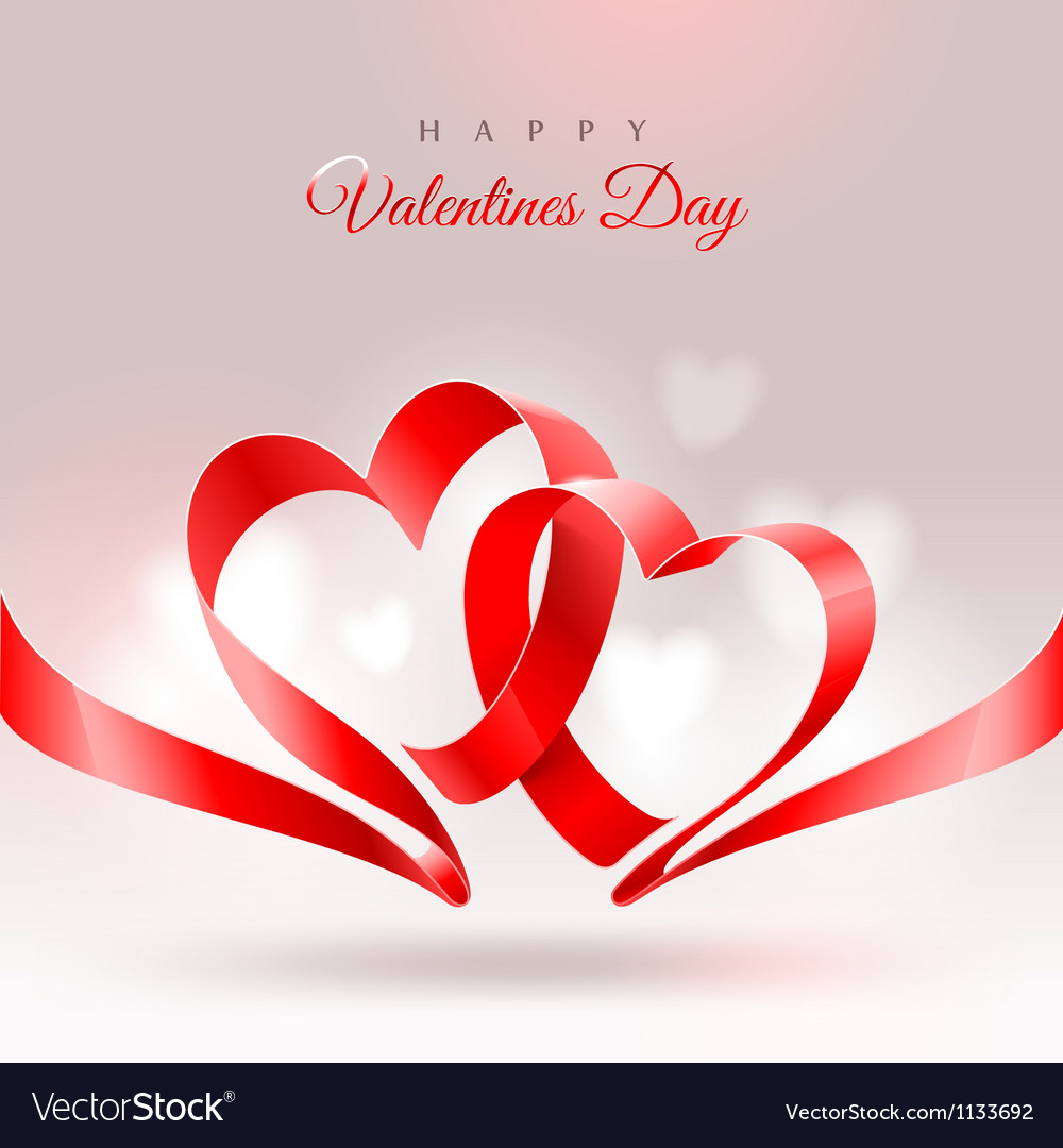 Valentines day design with two hearts vector