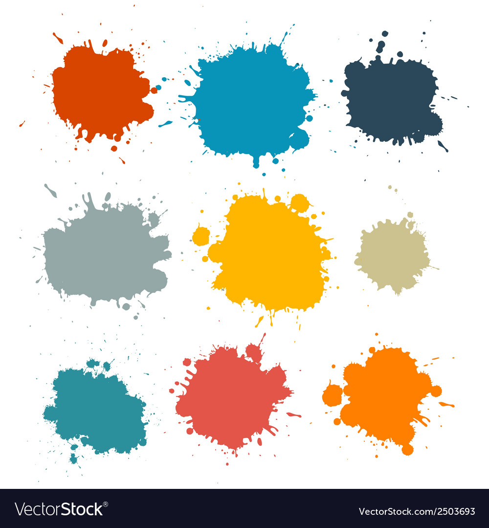Colorful retro stains blots splashes set vector