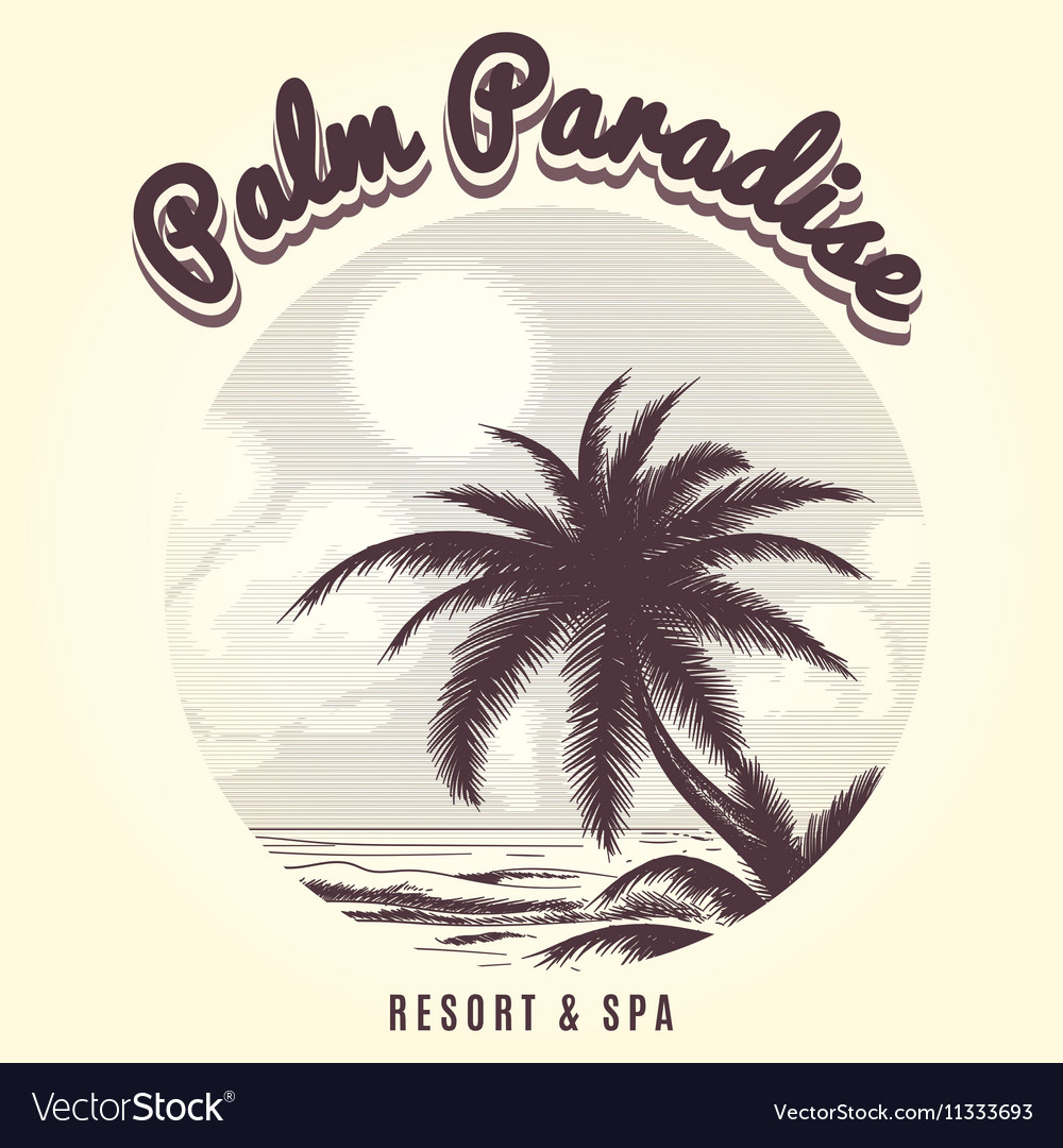 Palm tree and ocean sketch logo vector