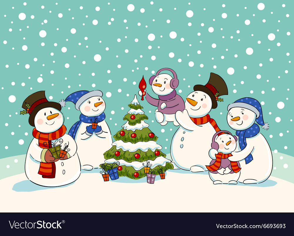 Snowman holiday party vector