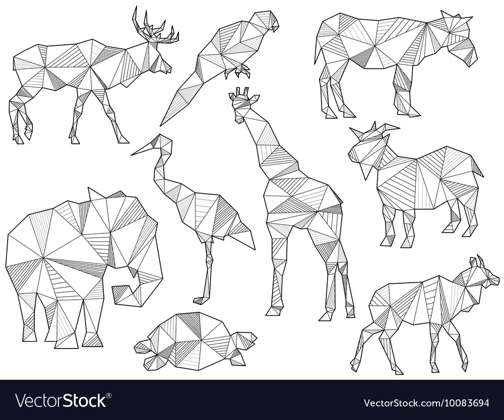 Set of origami animal silhouettes vector