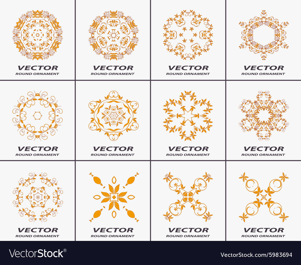 Set of round ornaments vector