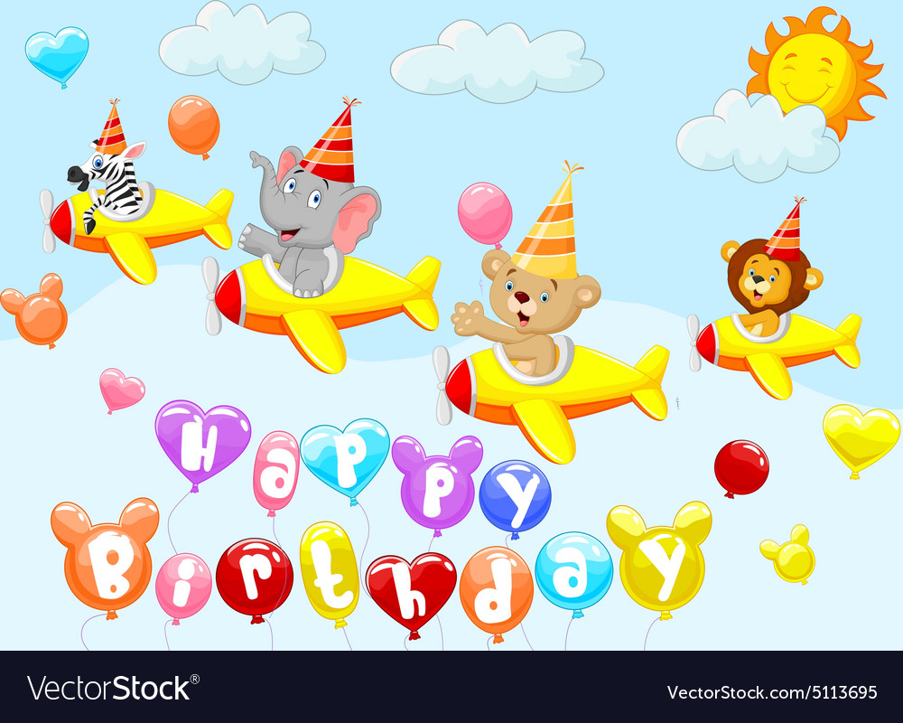 Birthday background with animal on plane vector