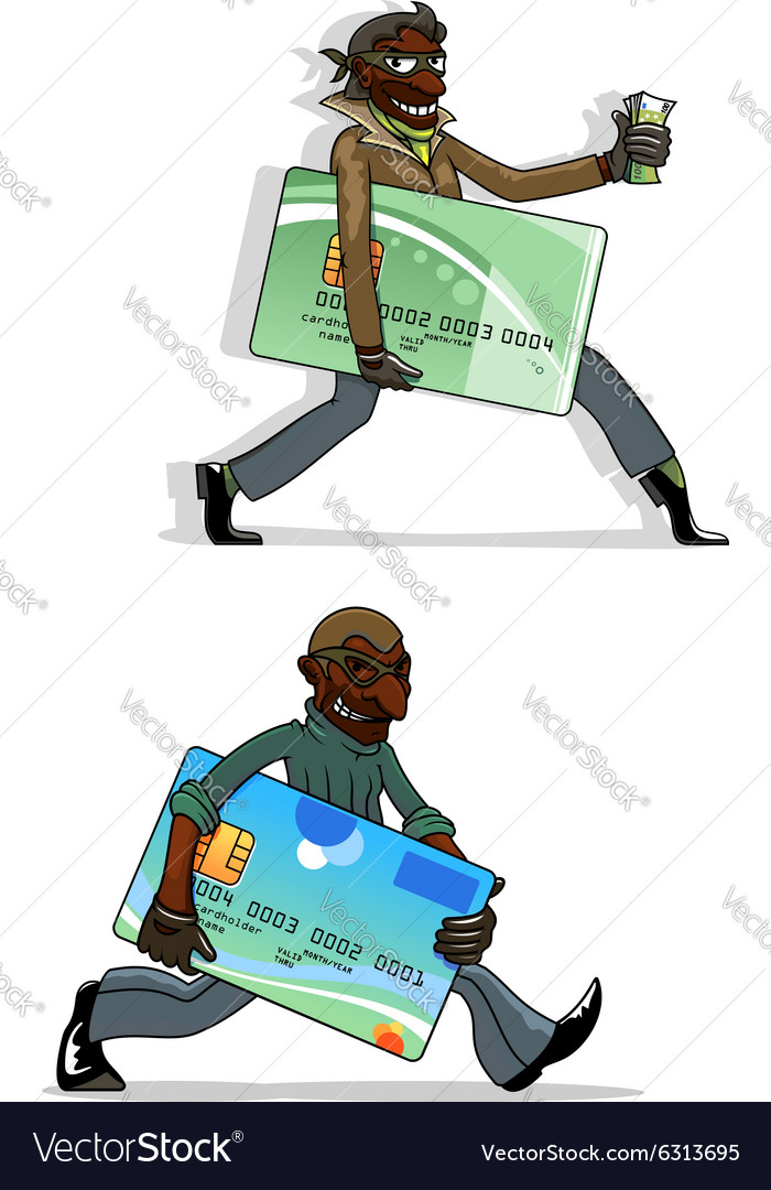 Cartoon thieves with bank cards and money vector