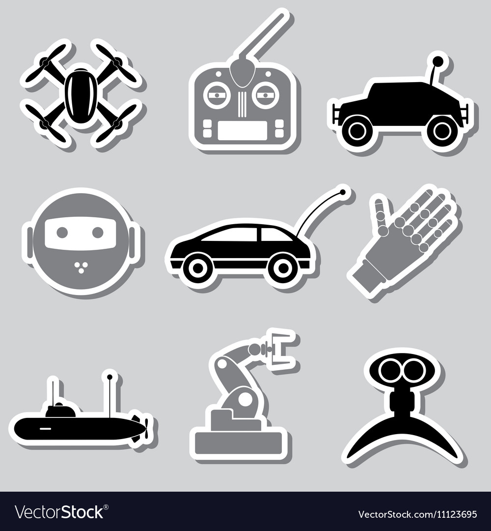 Hitech modern technology toys simple stickers vector
