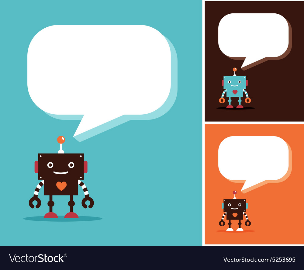 Robot cute icons and characters vector