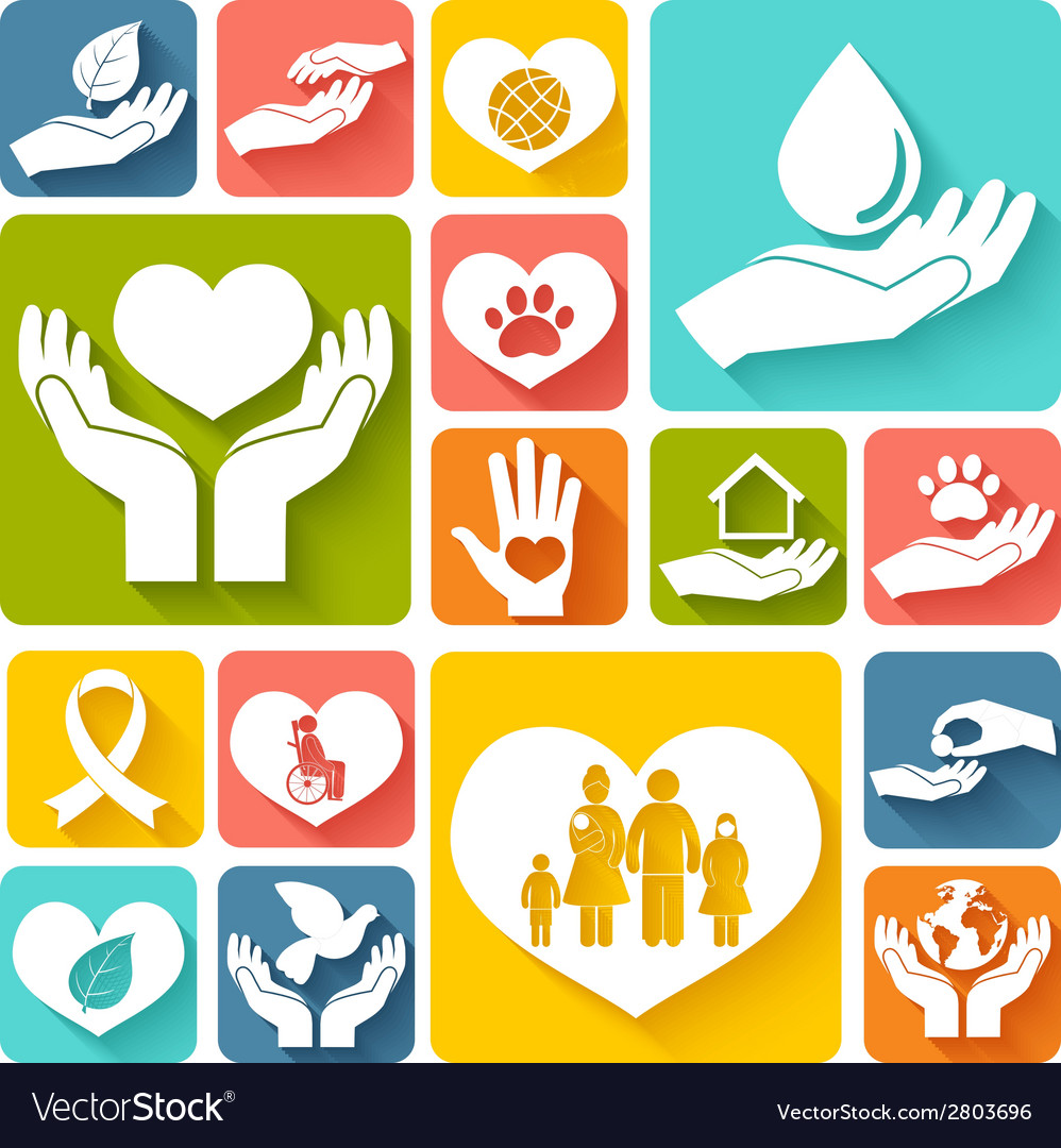 Charity and donation icons flat vector