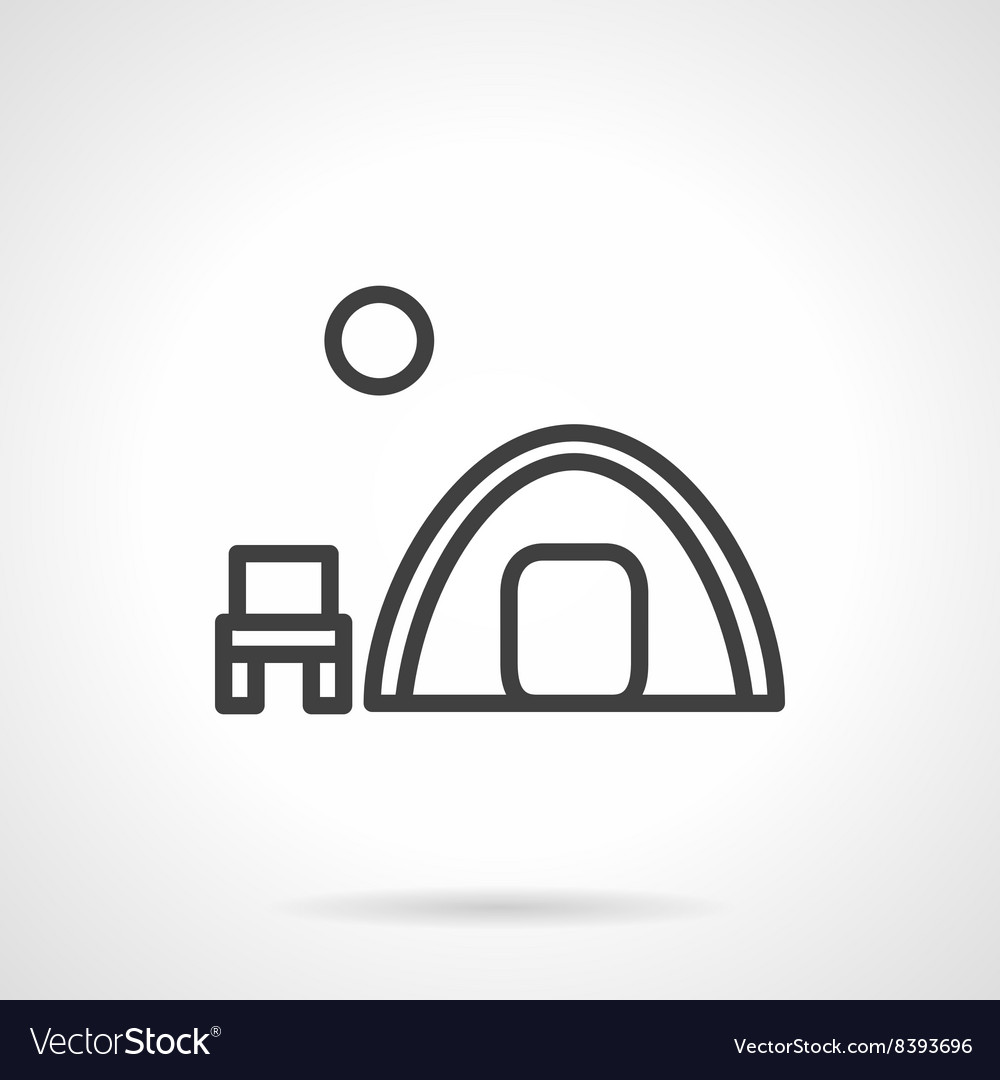 Overnight camp tent black line icon vector