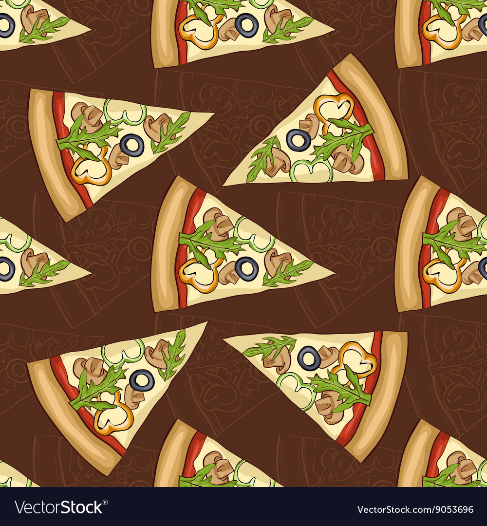 Seamless pattern scetch and color pizza vector