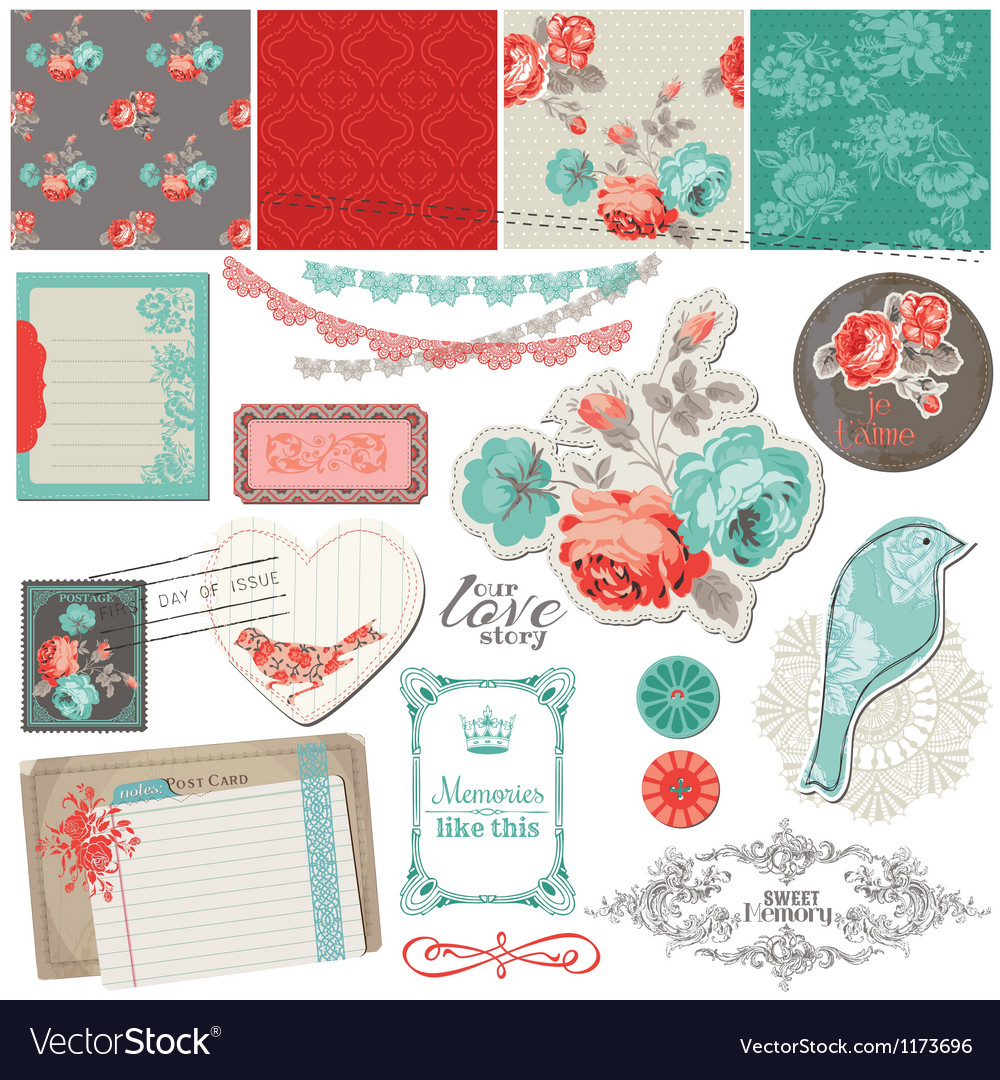 Vintage roses and birds vector
