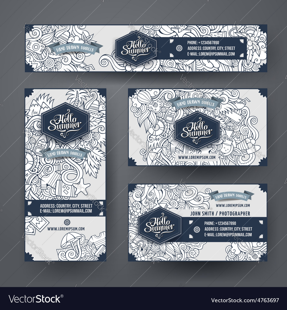 Corporate identity templates set with doodles vector