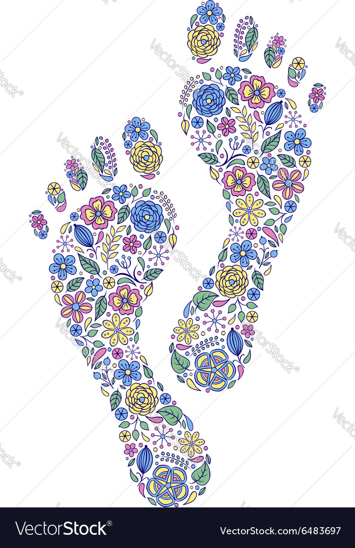 Floral human footprints vector
