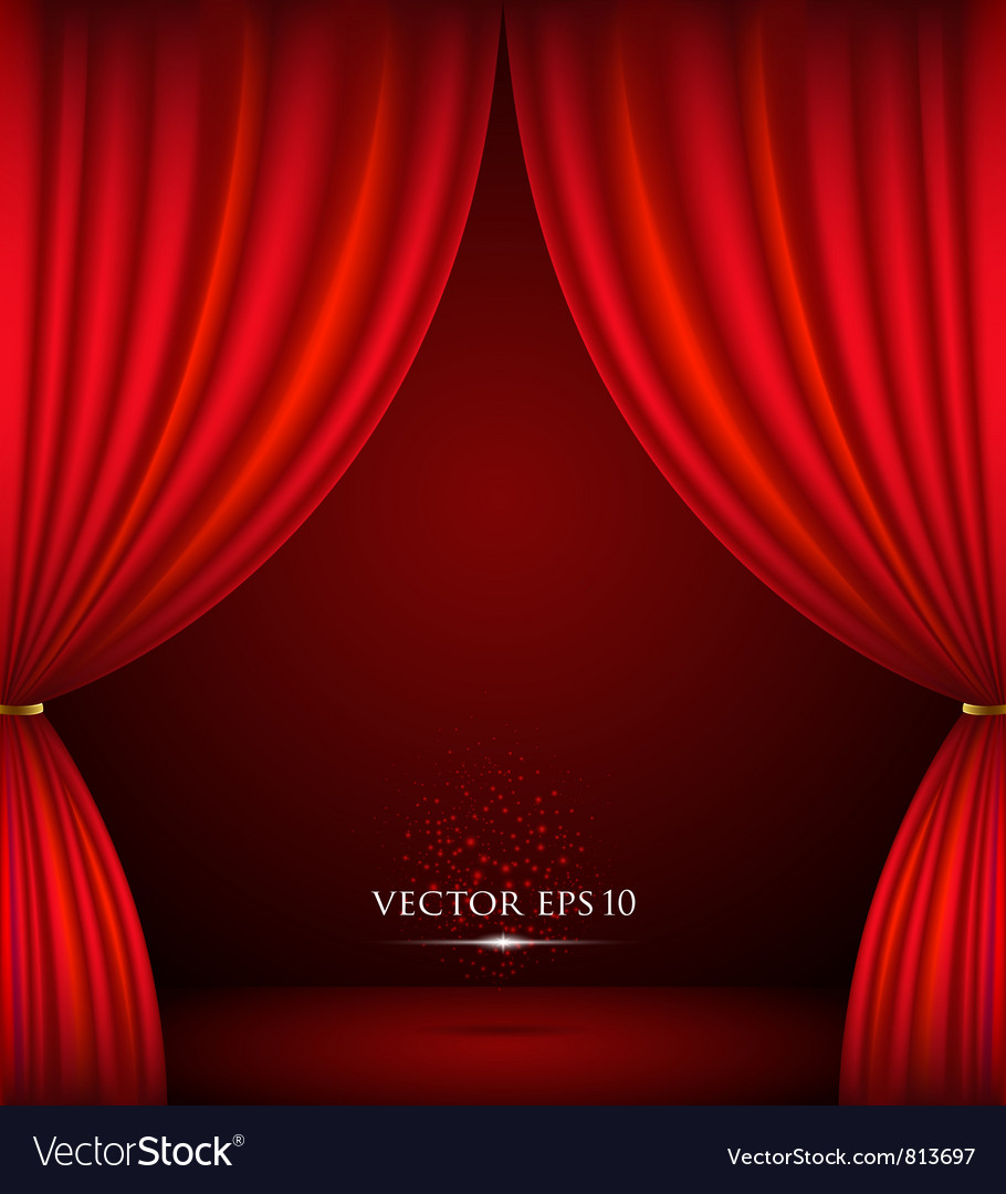 Red theater curtain background vector