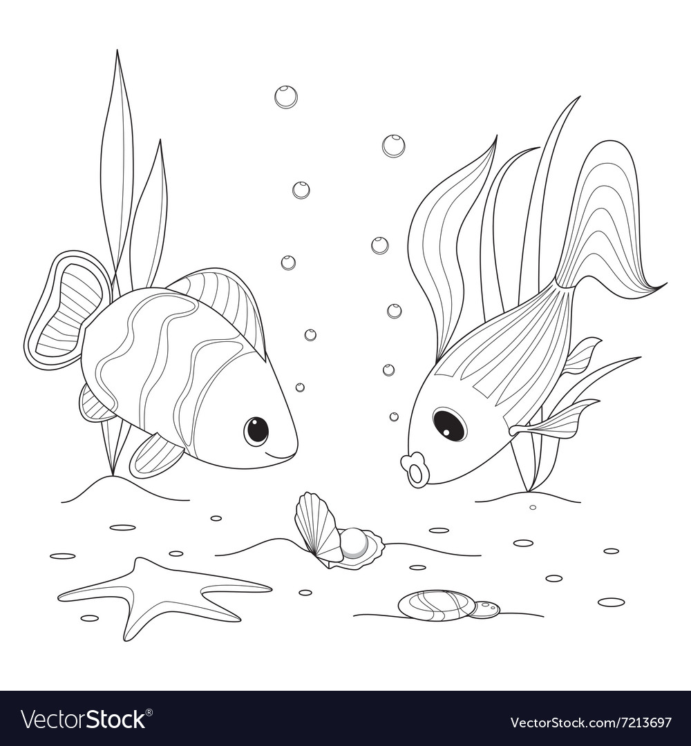 Shell with a pearl fish swimming around starfish vector