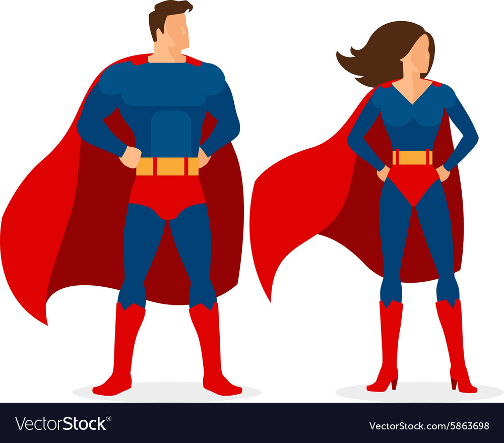Superhero couple of flat superman and superwoman vector