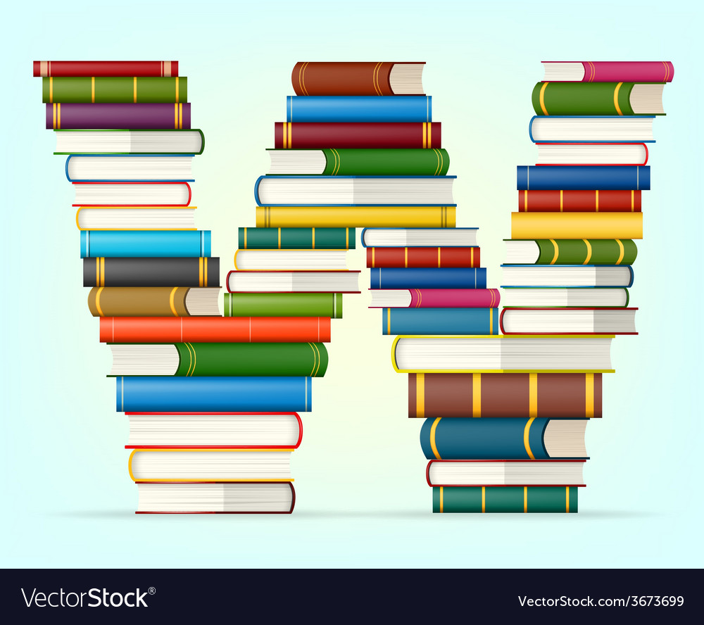 Alphabet from stacks of multi colored books vector