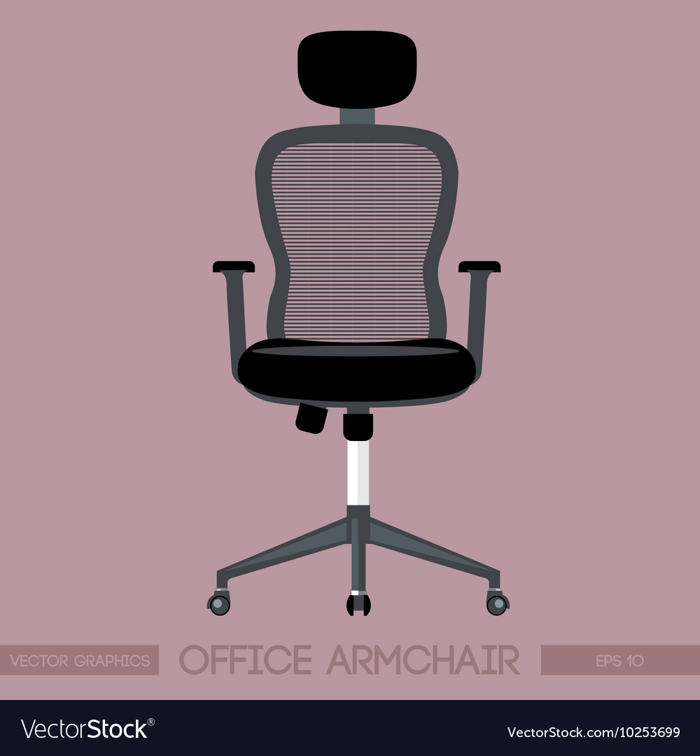 Black modern office armchair over pink background vector