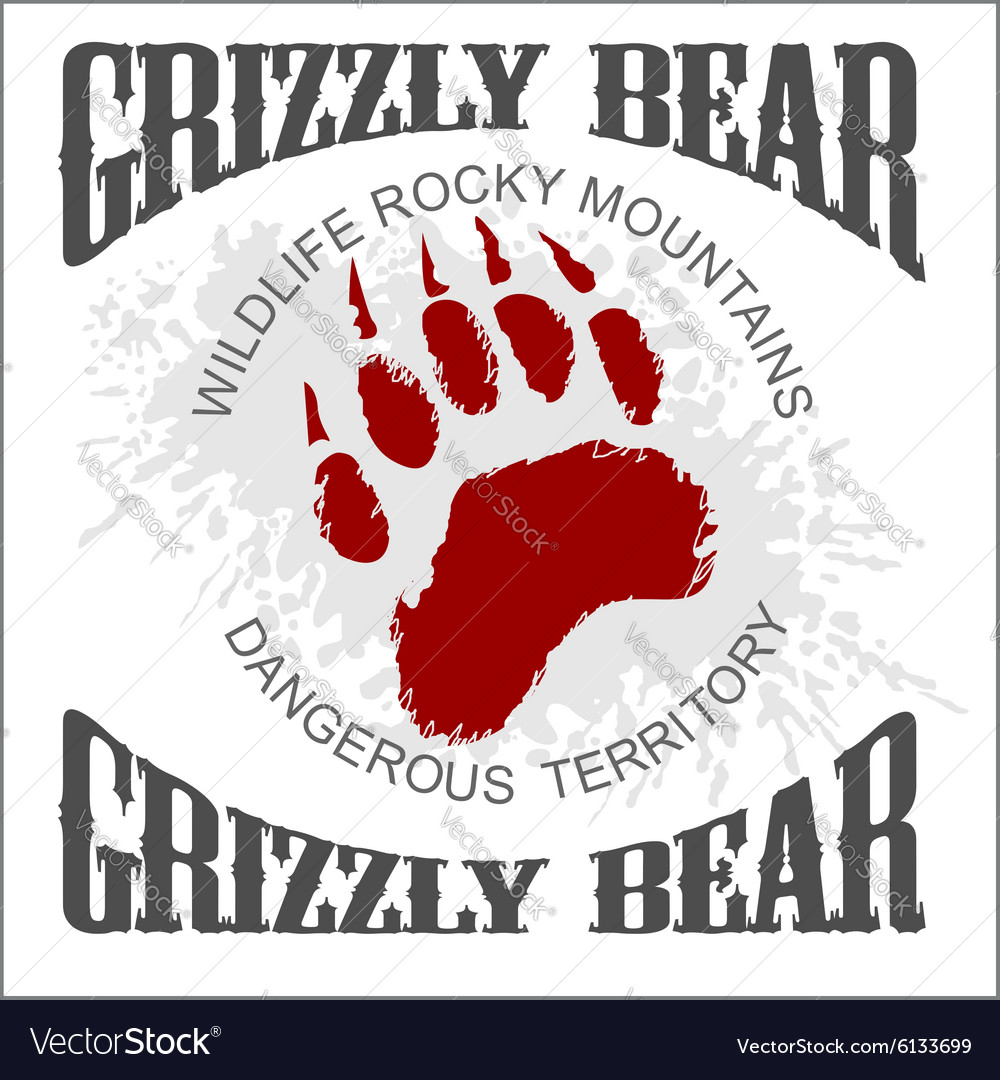 Grizzly bear footprint emblem  vector