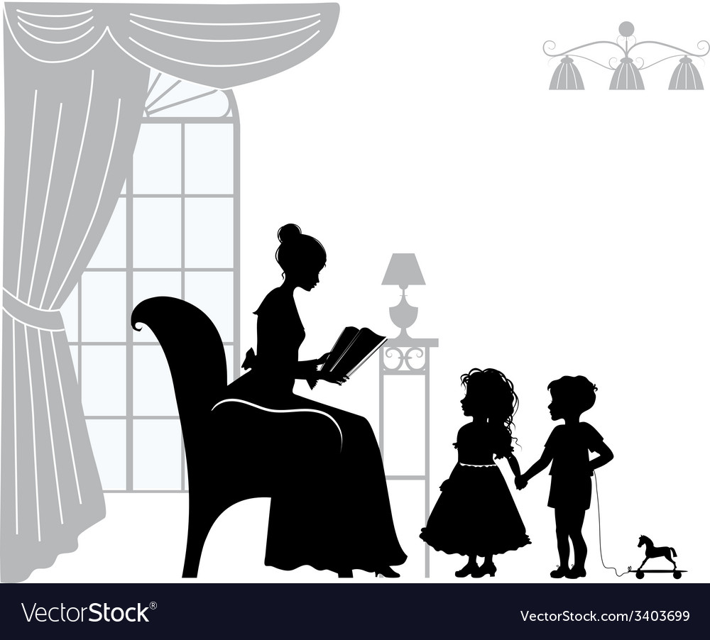 Mom reading book vector