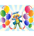 The twelve balloons and the male clown vector image vector image