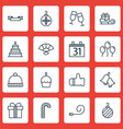 set of 16 new year icons includes date gift vector image