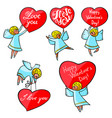 valentines day angels set with cute hand drawn vector image vector image