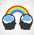 Silhouette of a mans head with a rainbow and vector image vector image