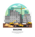 building construction machinery flat composition vector image