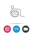 Gymnastic ball icon Pilates fitness sign vector image