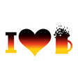 I love beer logo for Oktoberfest German flag Sign vector image