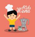 kids menu boy chocolate vector image