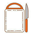 kitchen board wooden with knife vector image