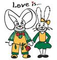 loving rabbits vector image