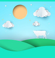 paper origami style cow meadow sun cloud vector image