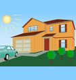 residential house in bright colors with lawn vector image