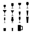 set of silhouette glass icons vector image