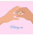 Proposal from young man marry me cartoon drawing vector image