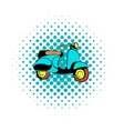 Motorcycle blue comics icon vector image
