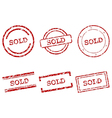 Sold stamps vector image vector image