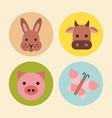 icons set farm animal vector image